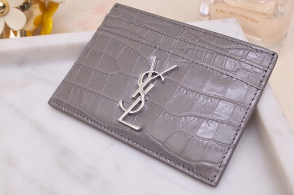 Replica Saint Laurent YSL 423291 Monogram Card Case In Gray Shiny Crocodile Embossed Leather Silver YSL