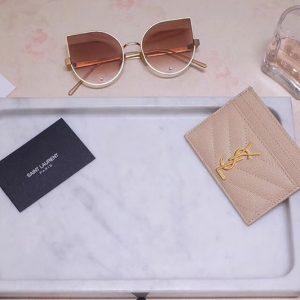 Replica Saint Laurent YSL 423291 Monogram Card Case In Pink Grain de Poudre Embossed Leather