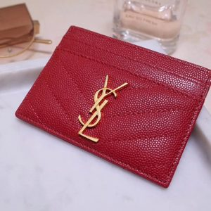Replica Saint Laurent YSL 423291 Monogram Card Case In Red Grain de Poudre Embossed Leather