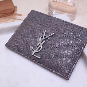 Replica Saint Laurent YSL 423291 Monogram Card Case In Gray Grain de Poudre Embossed Leather