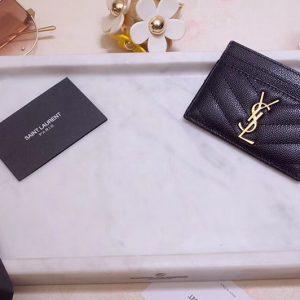 Replica Saint Laurent YSL 423291 Monogram Card Case In Black Grain de Poudre Embossed Leather Gold YSL
