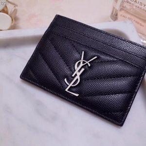 Replica Saint Laurent YSL 423291 Monogram Card Case In Black Grain de Poudre Embossed Leather Silver YSL