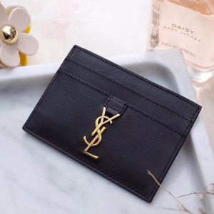 Replica Saint Laurent YSL 423480 Credit Card Case In Black Leather