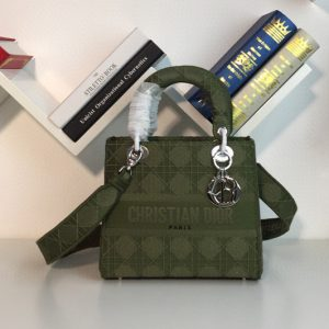 Replica Dior M0565 Medium Bois De Green Lady D-lite Embroidered Cannage Bag With Silver Hardware