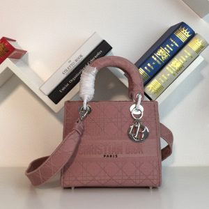 Replica Dior M0565 Medium Bois De Rose Lady D-lite Embroidered Cannage Bag With Silver Hardware