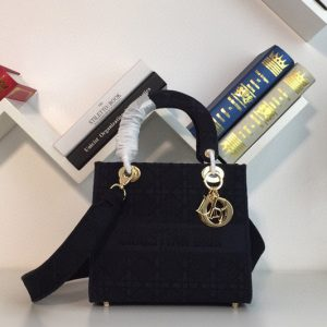 Replica Dior M0565 Medium Bois De Black Lady D-lite Embroidered Cannage Bag With Gold Hardware