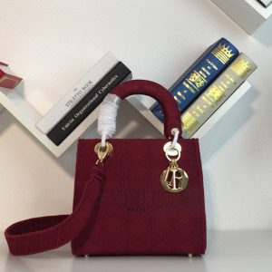 Replica Dior M0565 Medium Bois De Bordeaux Lady D-lite Embroidered Cannage Bag With Gold Hardware