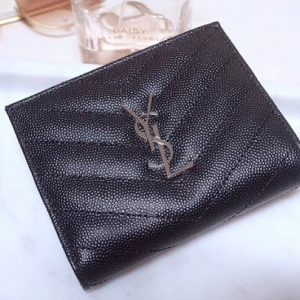 Replica Saint Laurent YSL 517045 Monogram Zipped Card Case in Black Grain de Poudre Embossed Leather Silver YSL