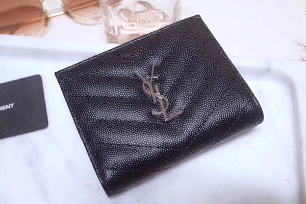 Replica Saint Laurent YSL 517045 Monogram Zipped Card Case in Black Grain de Poudre Embossed Leather Silver YSL