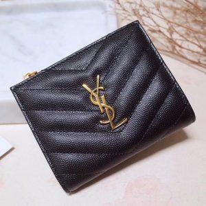 Replica Saint Laurent YSL 517045 Monogram Zipped Card Case in Black Grain de Poudre Embossed Leather Gold YSL
