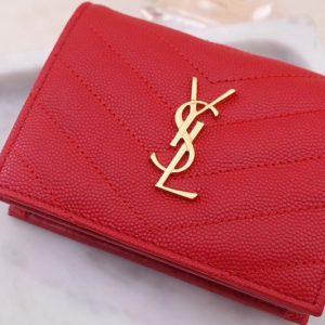 Replica Saint Laurent YSL 530841 Monogram Card Case in Red Grain de Poudre Embossed Leather