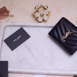 Replica Saint Laurent YSL 530841 Monogram Card Case in Black Grain de Poudre Embossed Leather Gold YSL