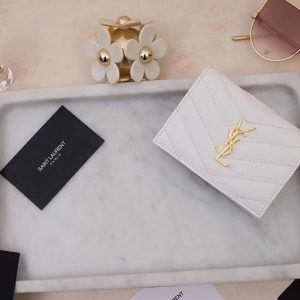 Replica Saint Laurent YSL 530841 Monogram Card Case in White Grain de Poudre Embossed Leather