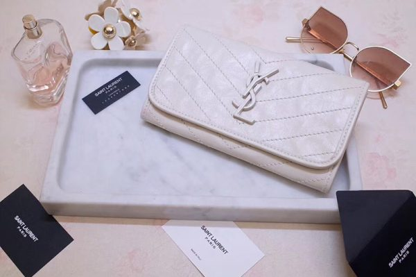 Replica Saint Laurent YSL 583552 Niki Large Wallet in White Crinkled Vintage Leather