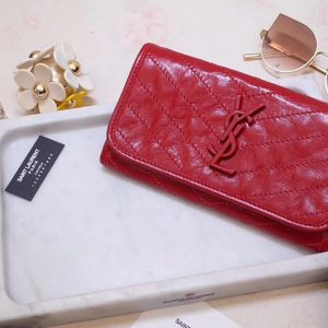 Replica Saint Laurent YSL 583552 Niki Large Wallet in Red Crinkled Vintage Leather
