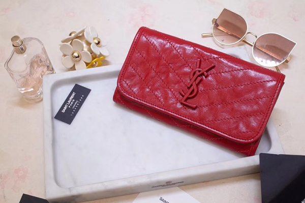 Replica Saint Laurent YSL 583552 Niki Large Wallet in Red Crinkled Vintage Leather