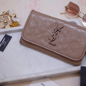 Replica Saint Laurent YSL 583552 Niki Large Wallet in Beige Crinkled Vintage Leather
