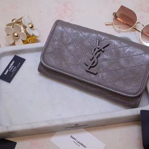 Replica Saint Laurent YSL 583552 Niki Large Wallet in Gray Crinkled Vintage Leather