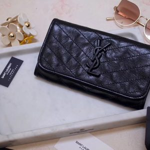 Replica Saint Laurent YSL 583552 Niki Large Wallet in Black Crinkled Vintage Leather