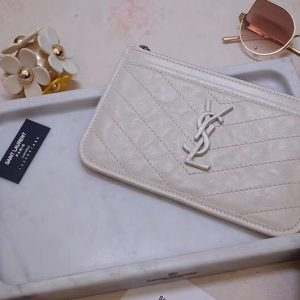 Replica Saint Laurent YSL 583577 Niki Bill Pouch in White Crinkled Vintage Leather