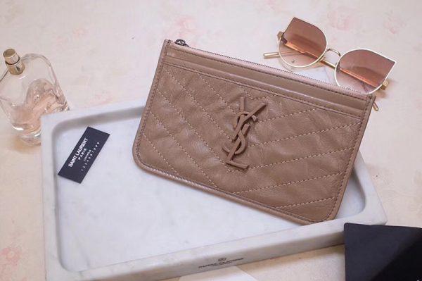 Replica Saint Laurent YSL 583577 Niki Bill Pouch in Beige Crinkled Vintage Leather