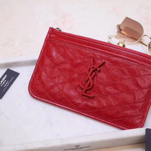 Replica Saint Laurent YSL 583577 Niki Bill Pouch in Red Crinkled Vintage Leather