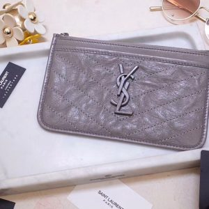 Replica Saint Laurent YSL 583577 Niki Bill Pouch in Gray Crinkled Vintage Leather