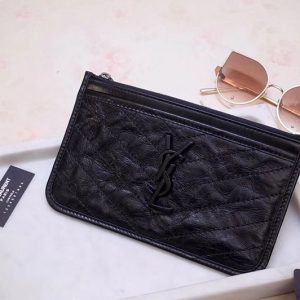 Replica Saint Laurent YSL 583577 Niki Bill Pouch in Black Crinkled Vintage Leather