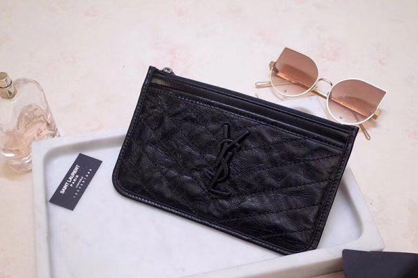 Replica Saint Laurent YSL 583577 Niki Bill Pouch in Black Crinkled Vintage Leather