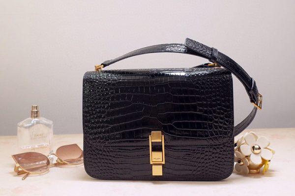 Replica Saint Laurent YSL 585060 Carre Satchel Bags In Black Crocodile Embossed Leather