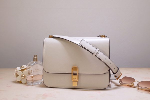 Replica Saint Laurent YSL 585060 Carre Satchel Bags In White Smooth Leather