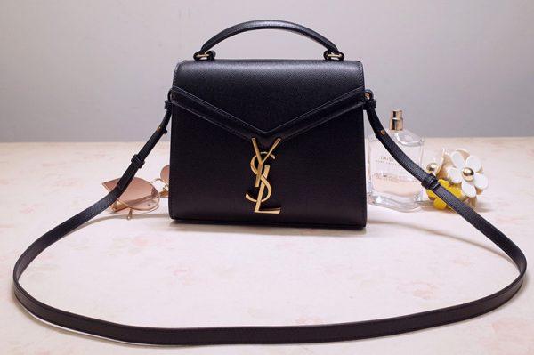 Replica Saint Laurent 602716 YSL Cassandra Mini Top handle bag In Black Grain de Poudre Embossed Leather