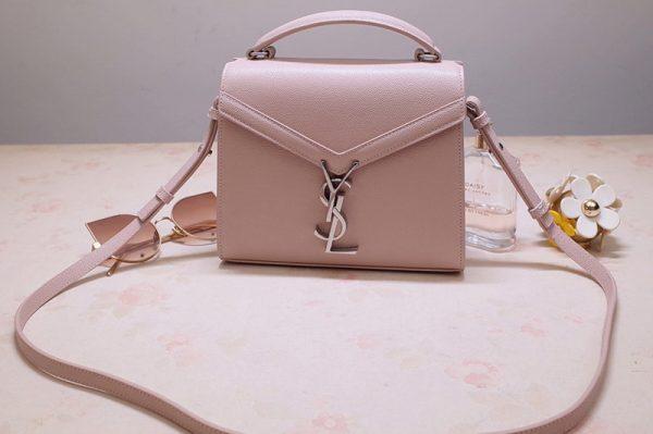 Replica Saint Laurent 602716 YSL Cassandra Mini Top handle bag In Pink Grain de Poudre Embossed Leather