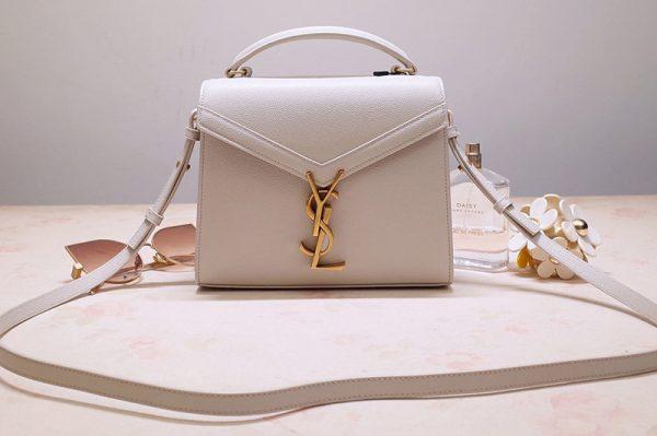 Replica Saint Laurent 602716 YSL Cassandra Mini Top handle bag In White Grain de Poudre Embossed Leather