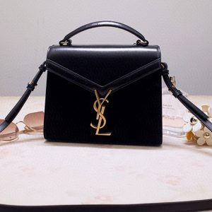Replica Saint Laurent 602716 YSL Cassandra Mini Top handle bag In Black Leather