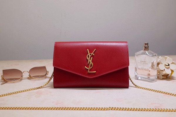 Replica Saint Laurent 607788 YSL Uptown Chain Wallet In Red Grain de Poudre Embossed Leather