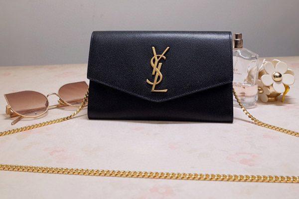 Replica Saint Laurent 607788 YSL Uptown Chain Wallet In Black Grain de Poudre Embossed Leather
