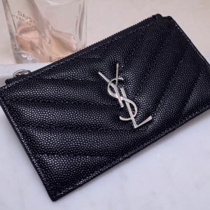 Replica YSL 607915 Saint Laurent Monogram Fragments Zippered Card Case in Black Grain de Poudre Embossed Leather With Silver YSL