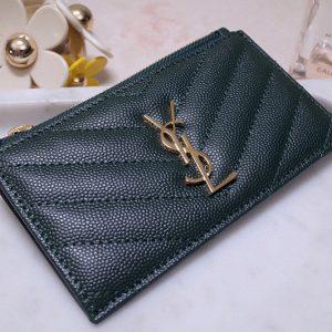Replica YSL 607915 Saint Laurent Monogram Fragments Zippered Card Case in Green Grain de Poudre Embossed Leather