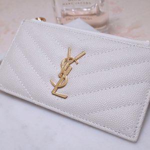 Replica YSL 607915 Saint Laurent Monogram Fragments Zippered Card Case in White Grain de Poudre Embossed Leather