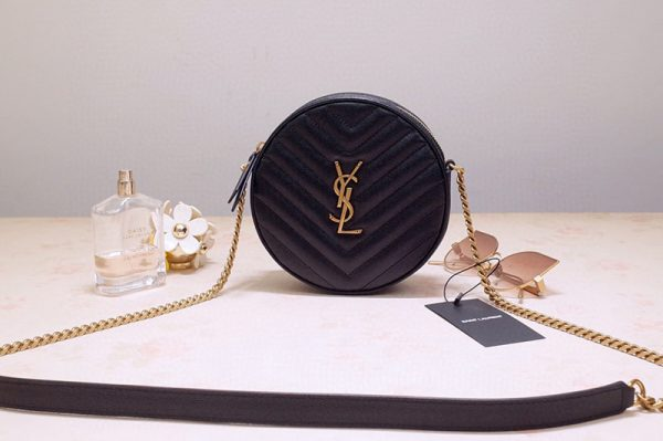 Replica Saint Laurent 6104361 YSL Vinyle Round Camera Bags in Black Chevron-Quilted Grain de Poudre Embossed Leather with Gold chain