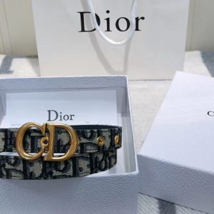 Replica Dior Saddle Oblique 20mm belt in blue Dior Oblique jacquard canvas