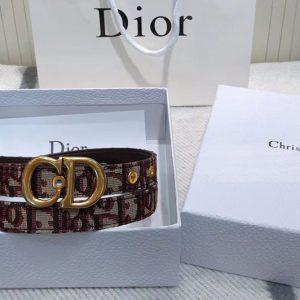 Replica Dior Saddle Oblique 20mm belt in Burgundy Dior Oblique jacquard canvas