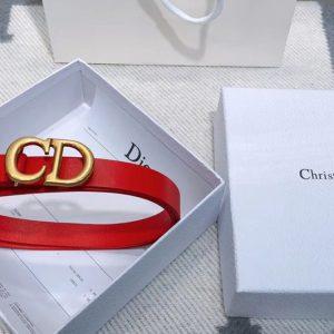Replica Dior Saddle calfskin 20mm belt in Red Calfskin Leather