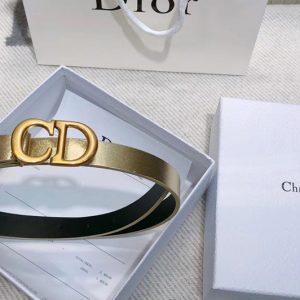 Replica Dior Saddle calfskin 20mm belt in Gold Calfskin Leather