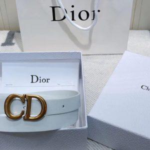 Replica Dior Saddle calfskin 20mm belt in White Calfskin Leather