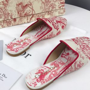 Replica Women's Dior Baby-D Embroidered slippers and Shoes Red Oblique Embroidered Canvas