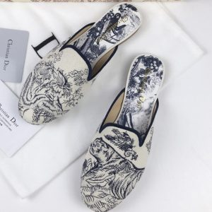Replica Dior Baby-D Embroidered slippers and Shoes Blue Oblique Embroidered Canvas