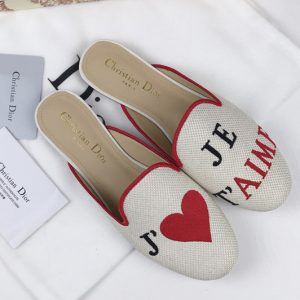 Replica Women's Dior Baby-D Beige Embroidered slippers and Shoes with je t'aime Embroidered