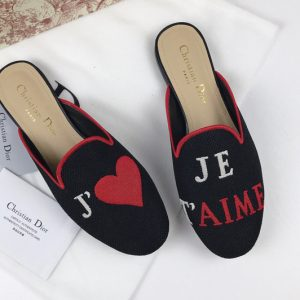 Replica Women's Dior Baby-D Black Embroidered slippers and Shoes with je t'aime Embroidered